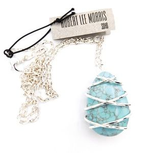 Robert Lee Morris Simulated Turquoise Egg Necklace